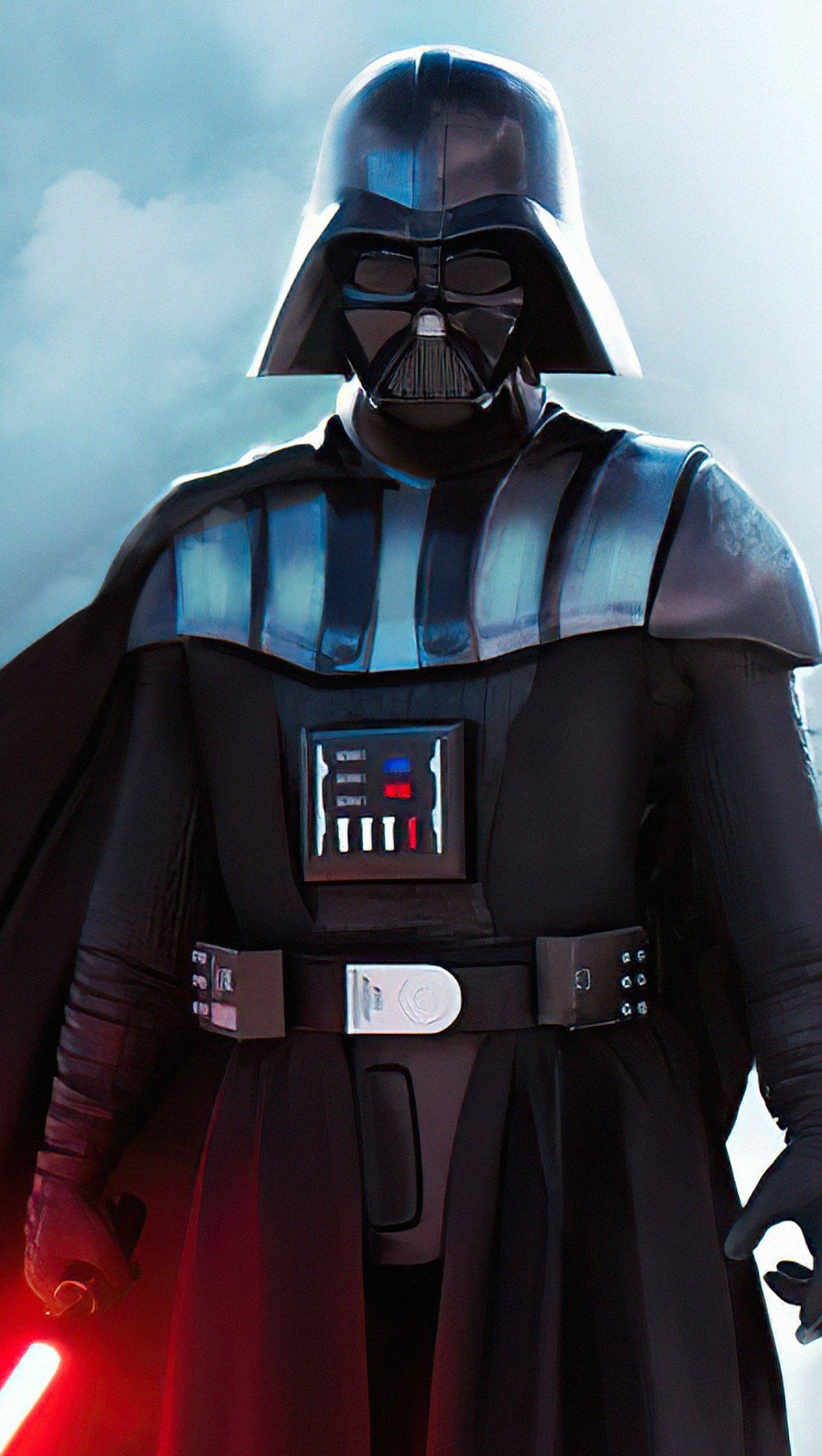 Fondos de pantalla Darth Vader con sable de luz rojo Vertical