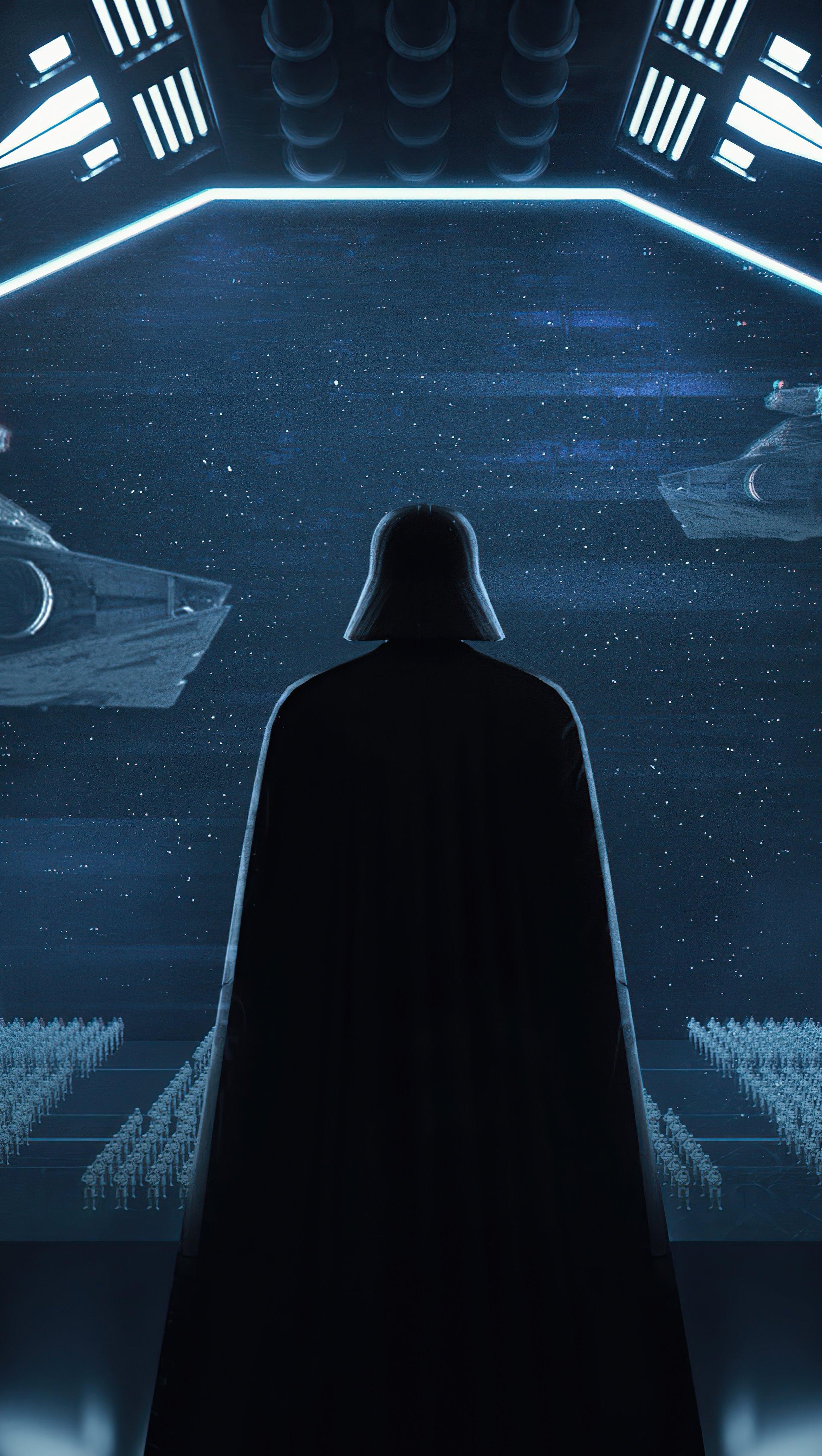 Wallpaper Darth Vader in Ship Vertical