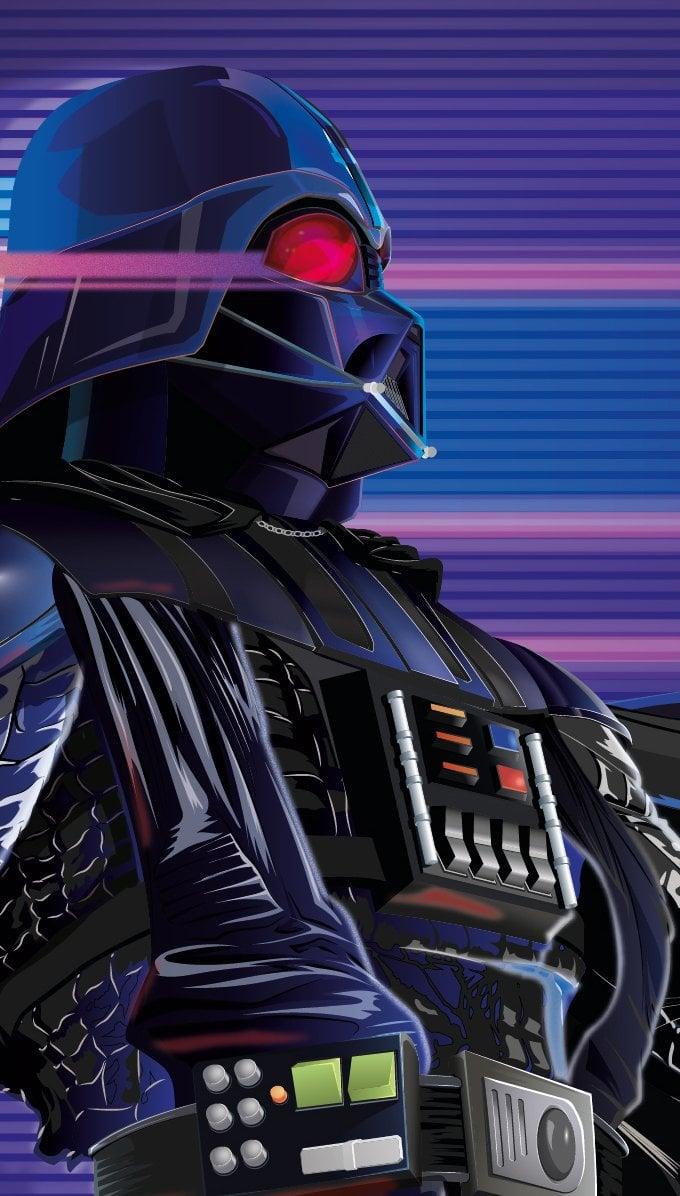 Fondos de pantalla Darth Vader estilo Synthwave Vertical