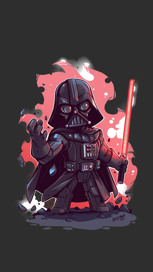 Wallpaper Darth Vader Minimalist Illustration Vertical