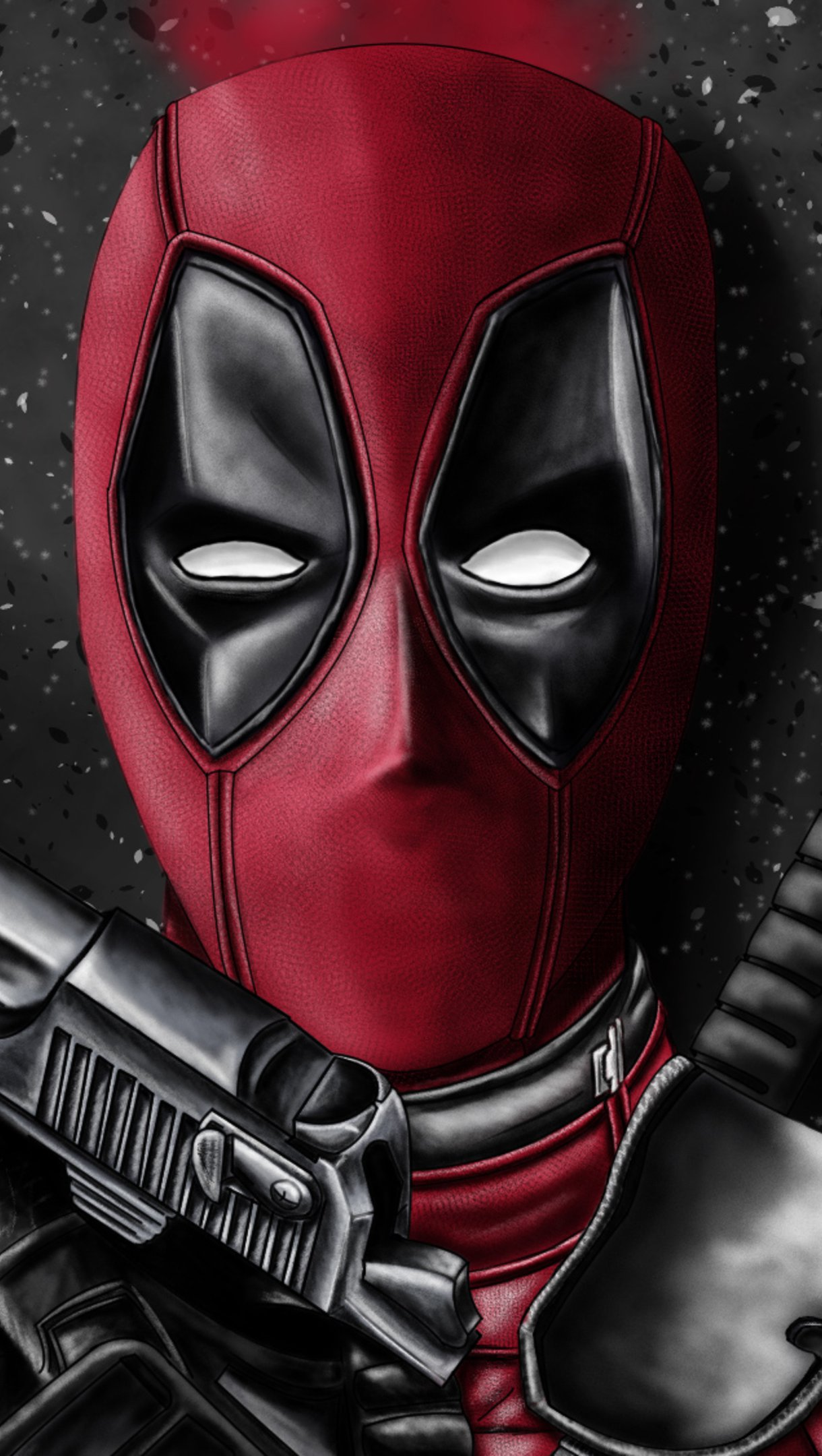 Wallpaper Deadpool with weapons Vertical