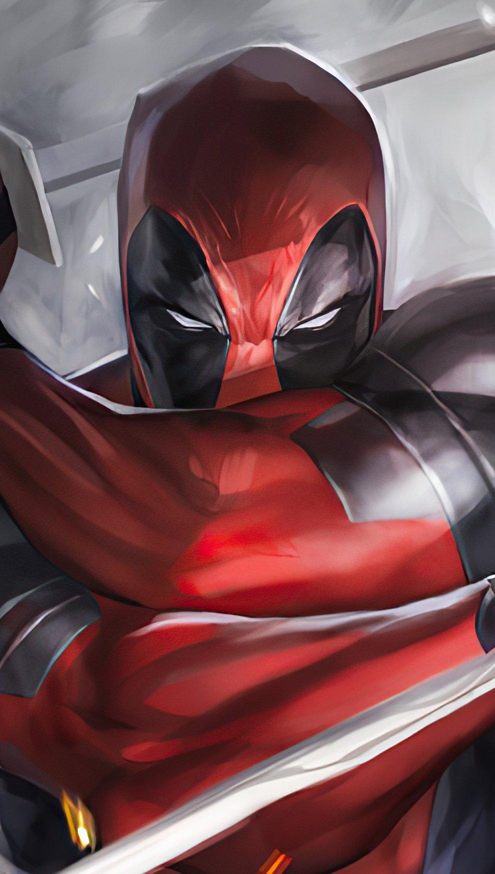 Fondos de pantalla Deadpool con katanas Vertical
