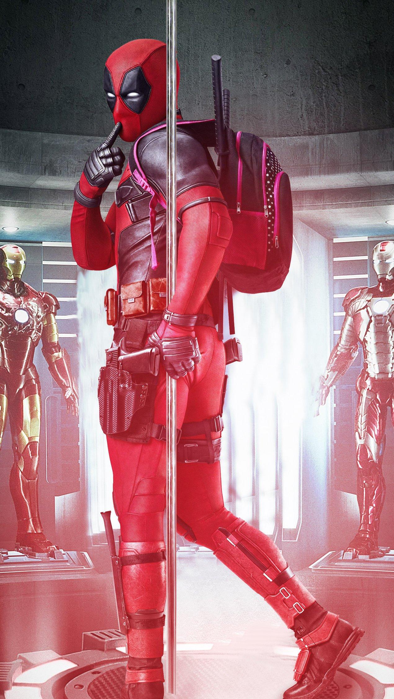 Wallpaper Deadpool with Iron Man's Armors Fanart Vertical