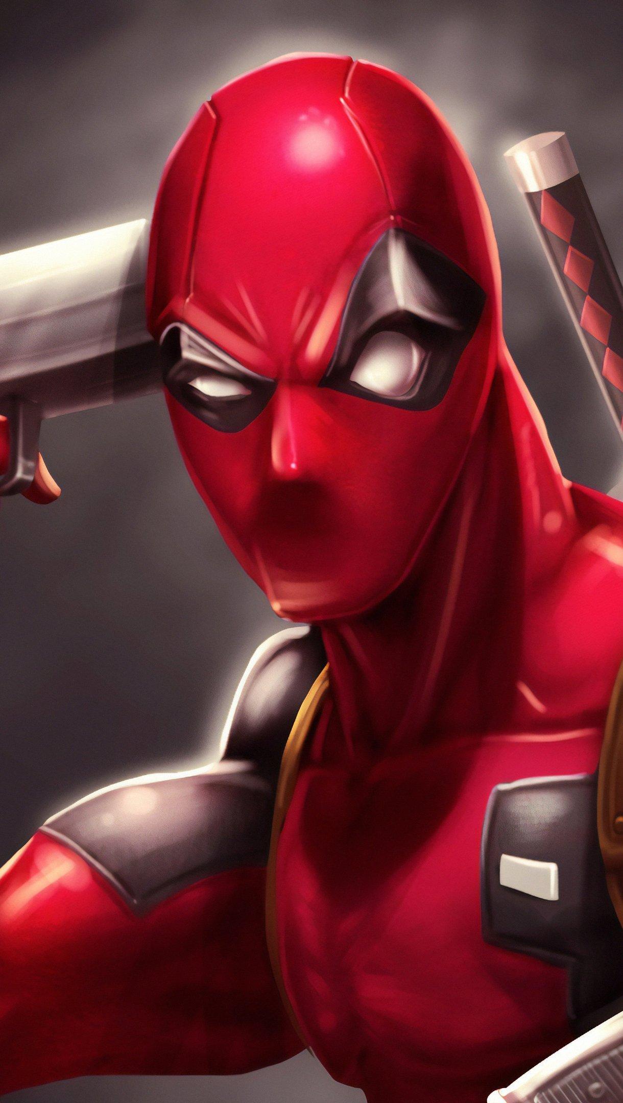 Fondos de pantalla Deadpool con pistola Fanart Vertical