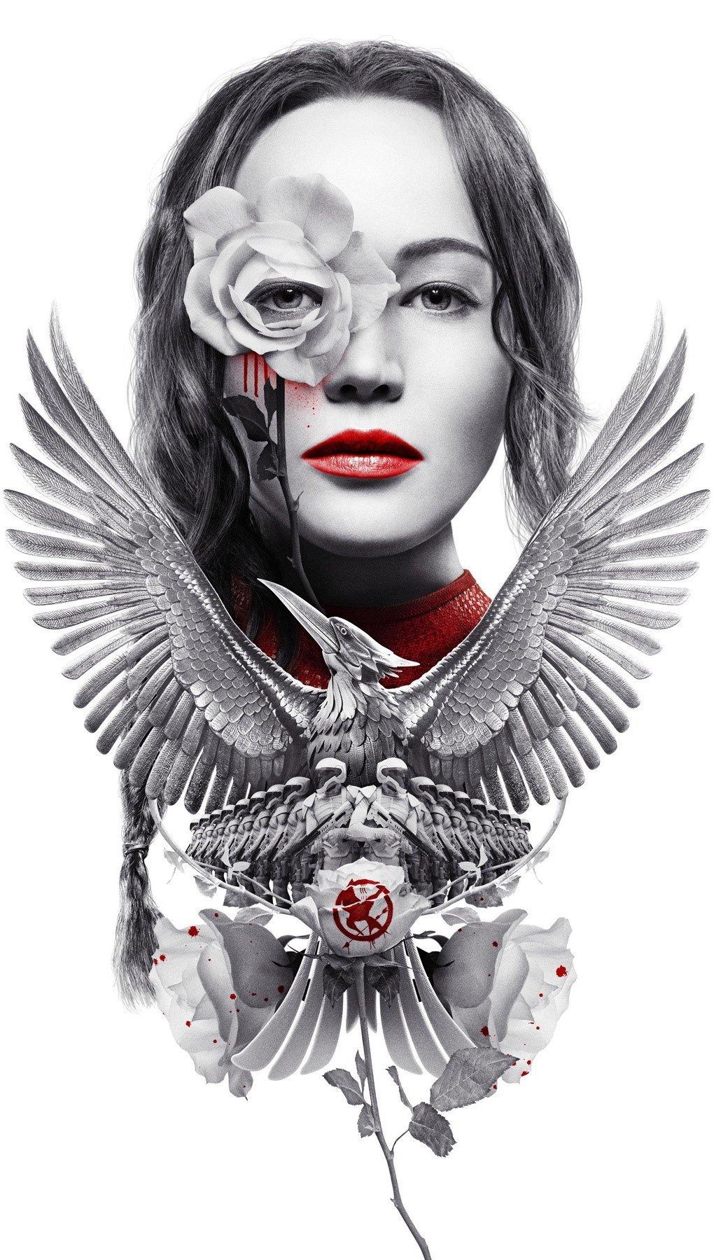 Fondos de pantalla Dibujo de Katniss Everdeen como un sinsajo Vertical