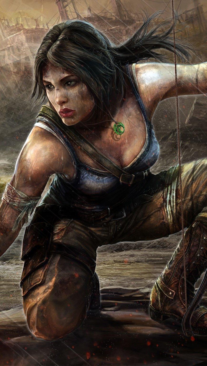 Wallpaper Drawing of Lara Croft Tomb Raider Vertical