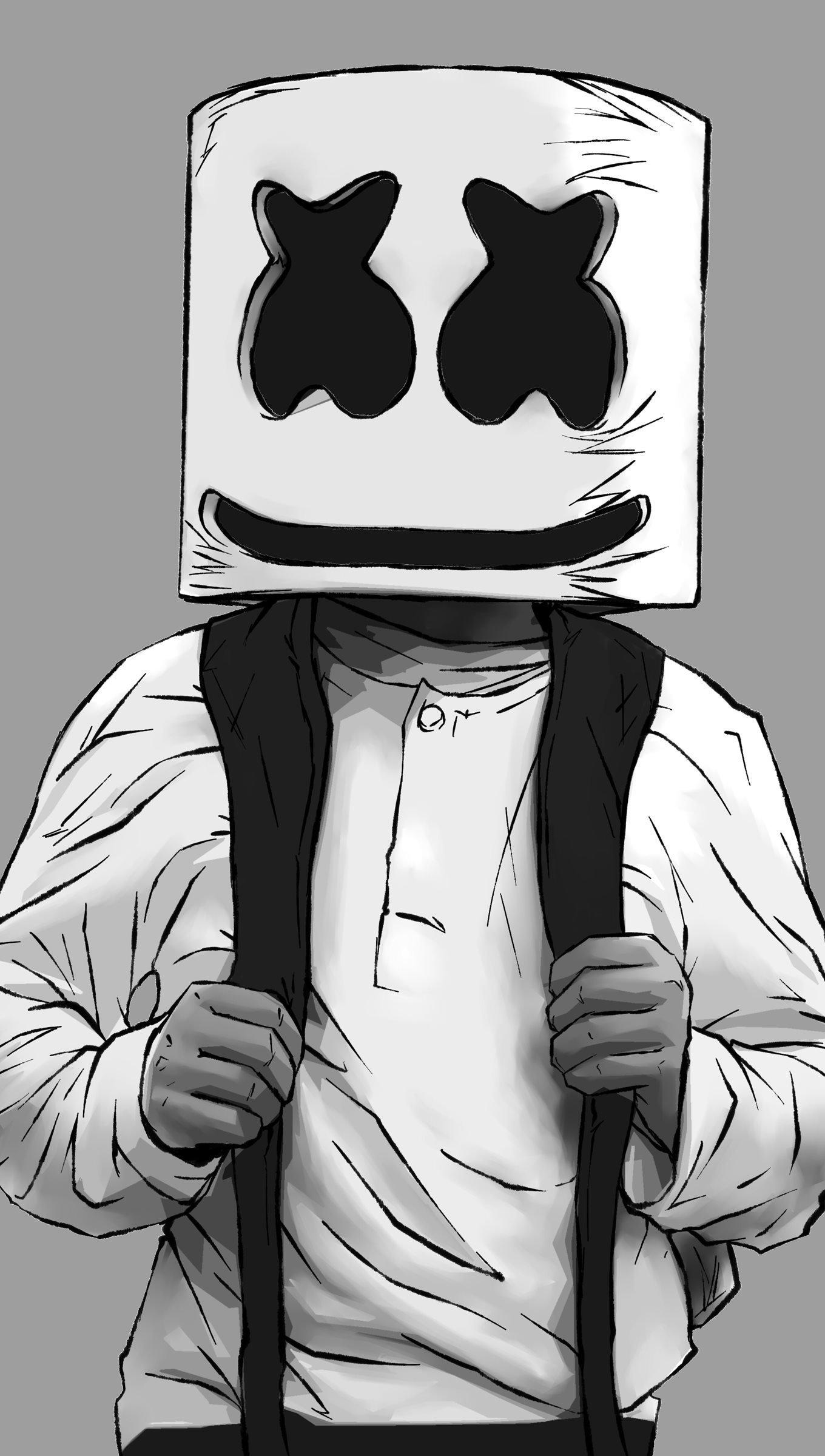 Wallpaper DJ Marshmello 2d illustration Vertical