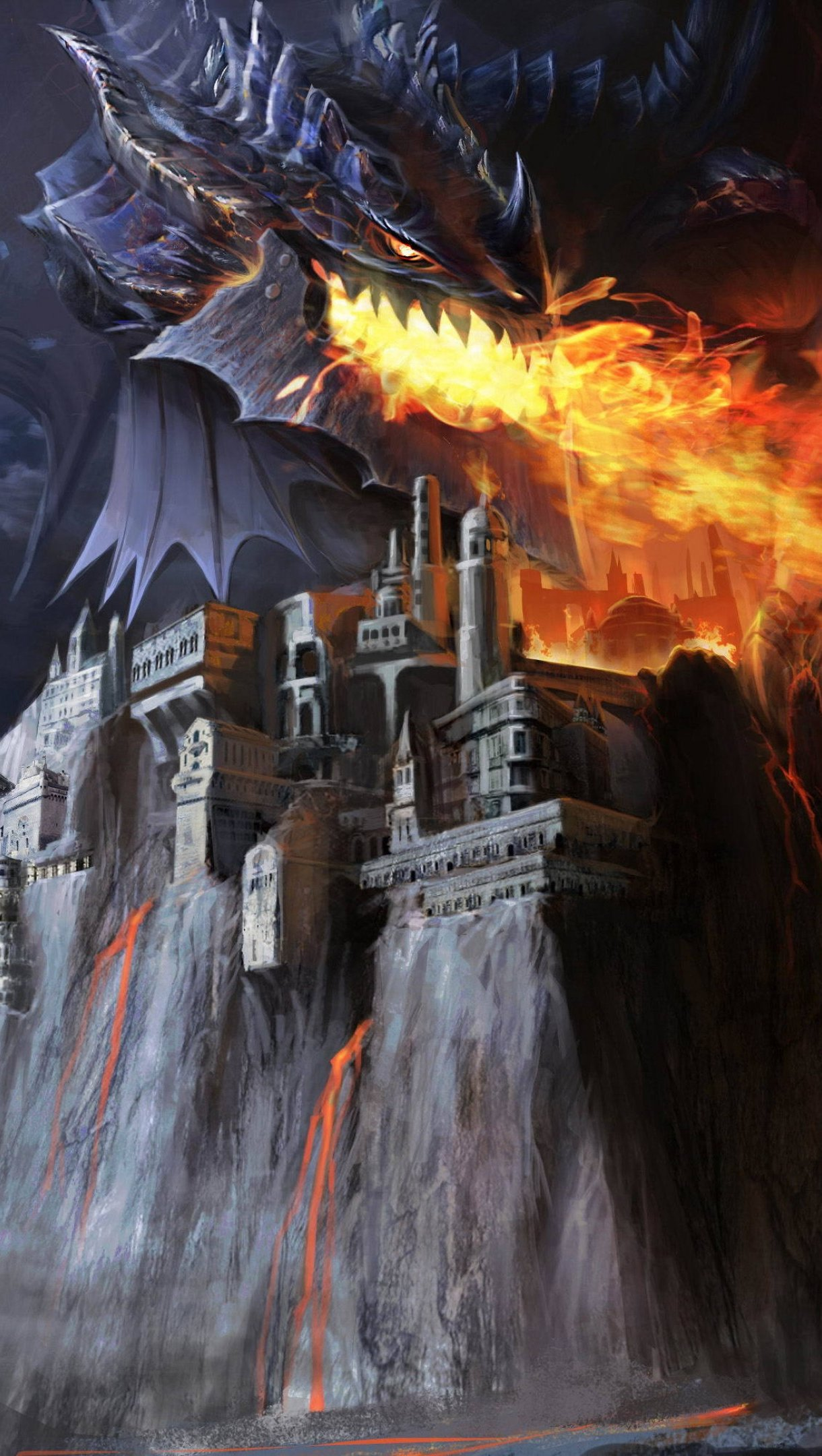Wallpaper Dragon attacking castle Vertical