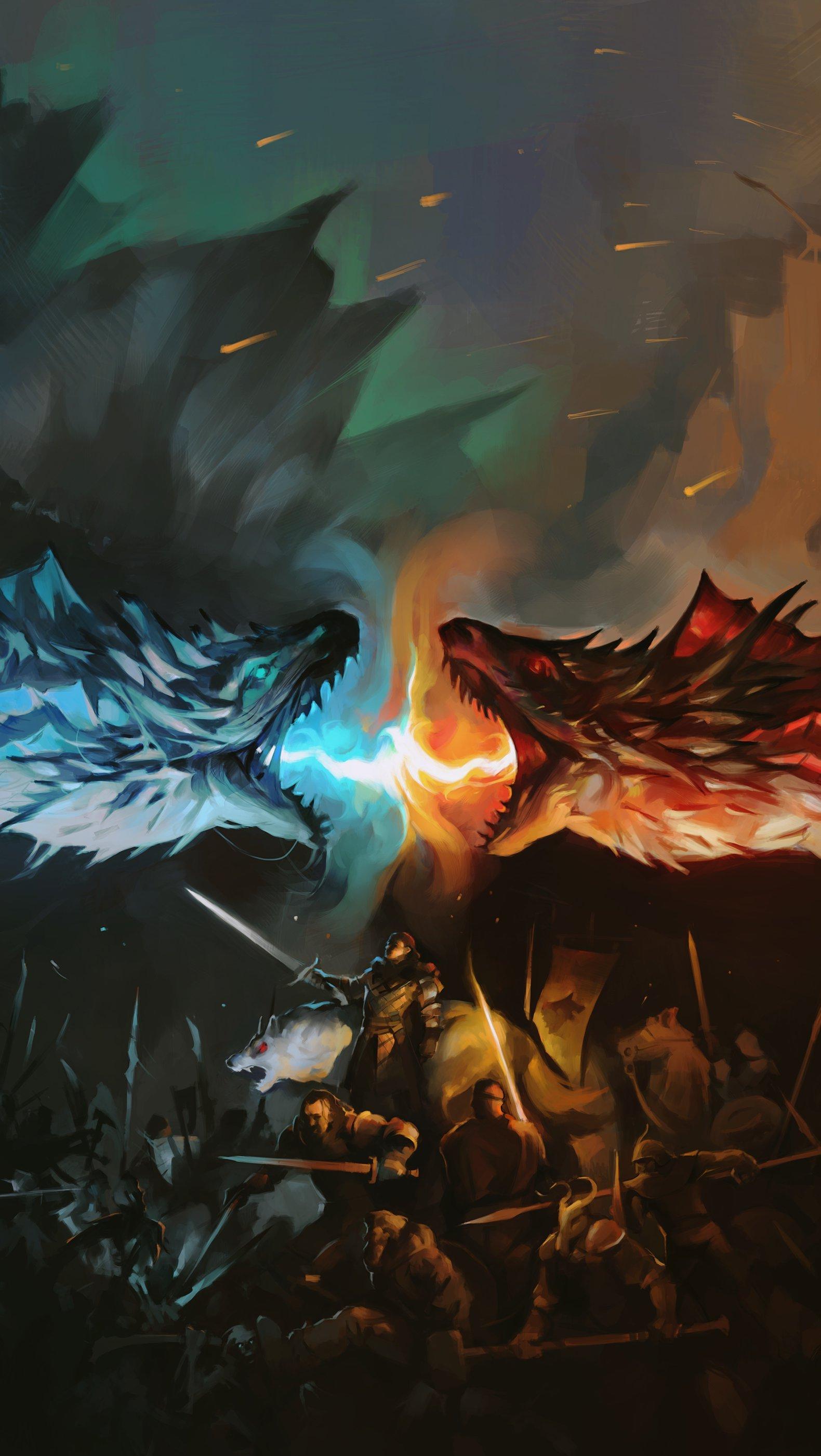 Fondos de pantalla Dragon Battle Fire Vs Ice Game Of Thrones Vertical