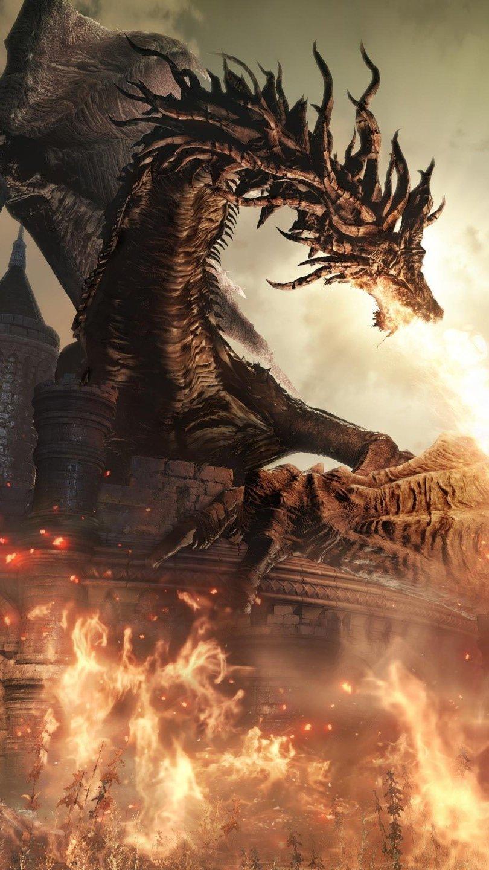 Wallpaper Dragon of Dark Souls Vertical