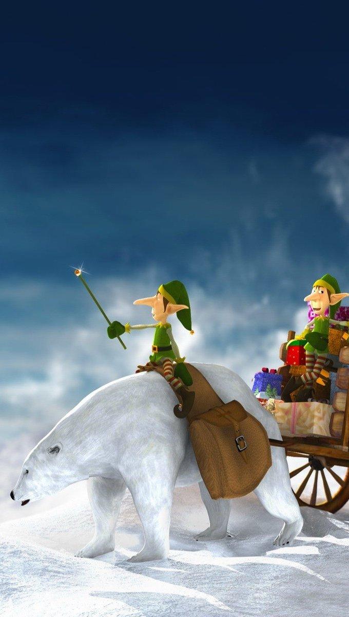 Wallpaper Elves delivering Christmas gifts Vertical