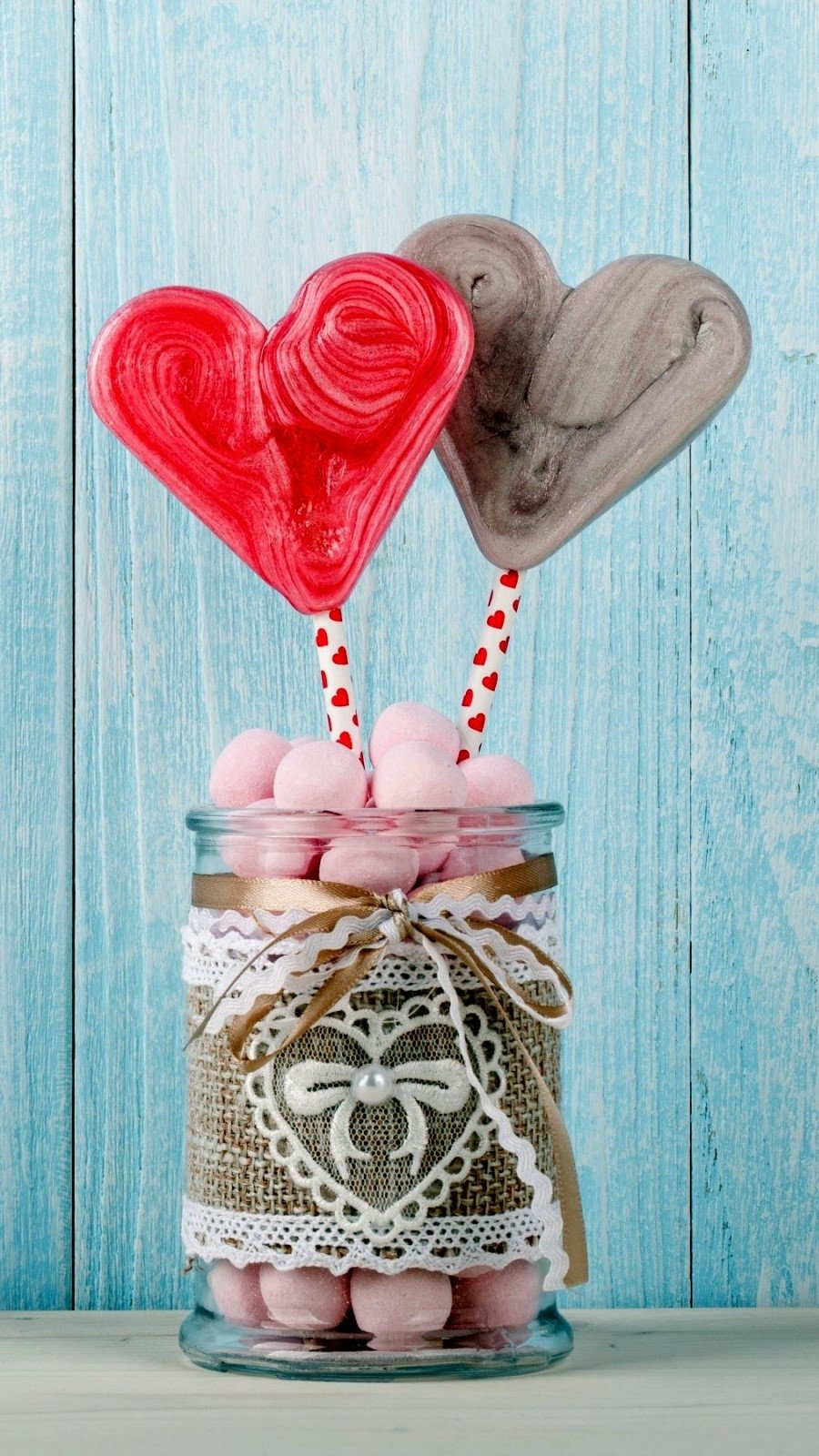 Wallpaper Heart candy in a jar Vertical