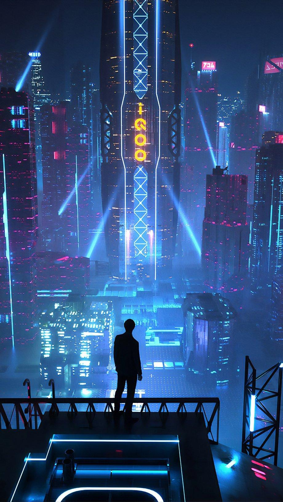 Wallpaper Buildings City at night Vertical