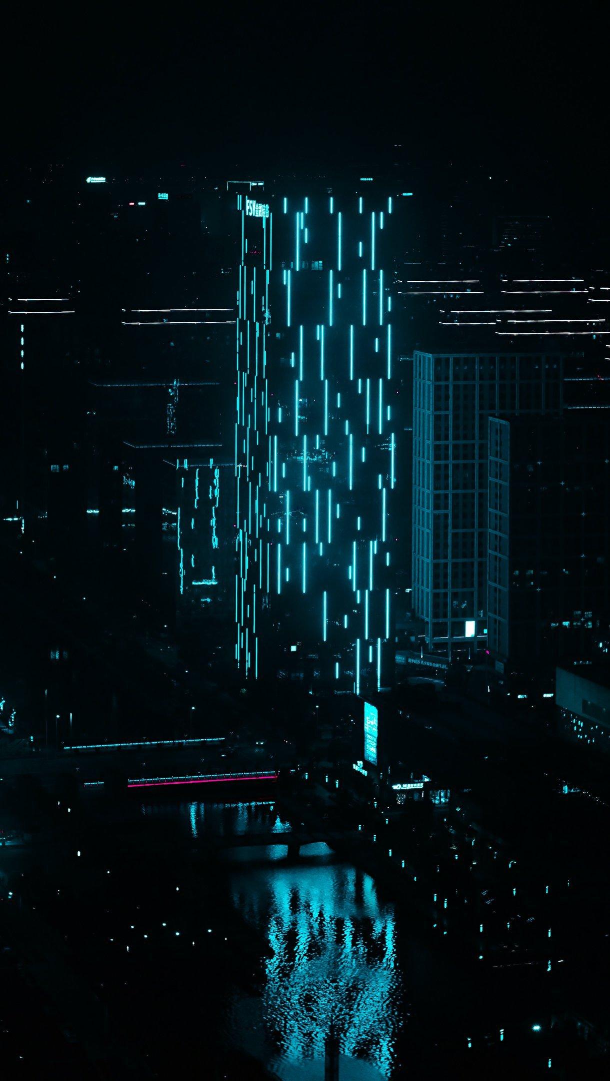 Wallpaper Night city building blue neon illumination Vertical