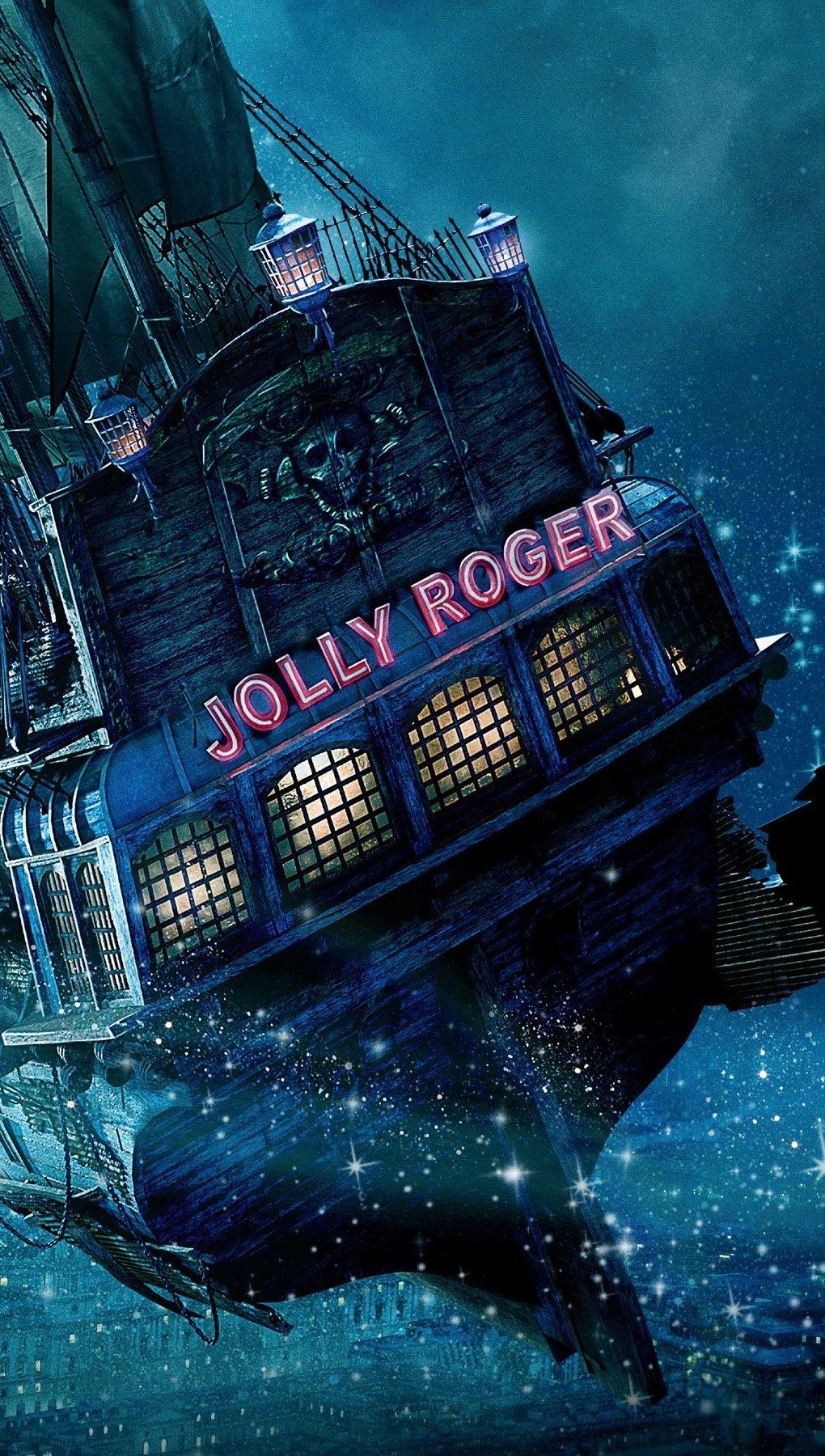 Wallpaper The Jolly Roger ship in Peter Pan Vertical