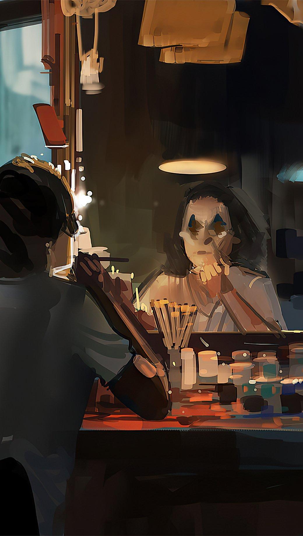 Fondos de pantalla El Guasón maquillandose Artwork Vertical
