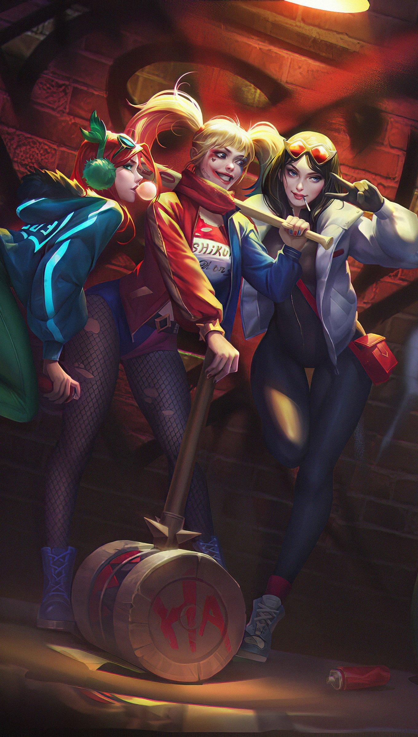 Fondos de pantalla El Guasón tomando una foto a Harley Quinn y amigas Vertical