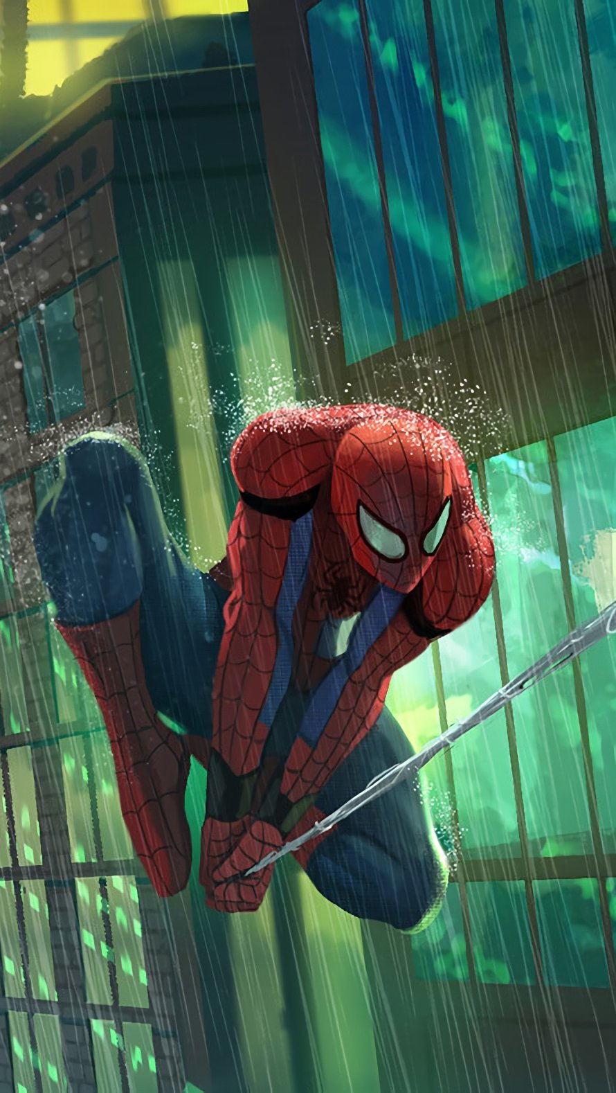 Wallpaper Spiderman swinging between buildings Vertical