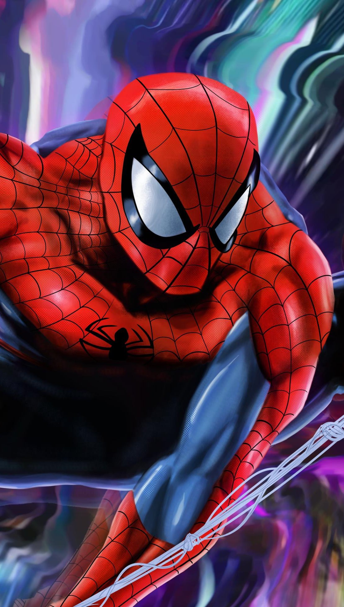 Fondos de pantalla El hombre araña con fondo colorido Vertical