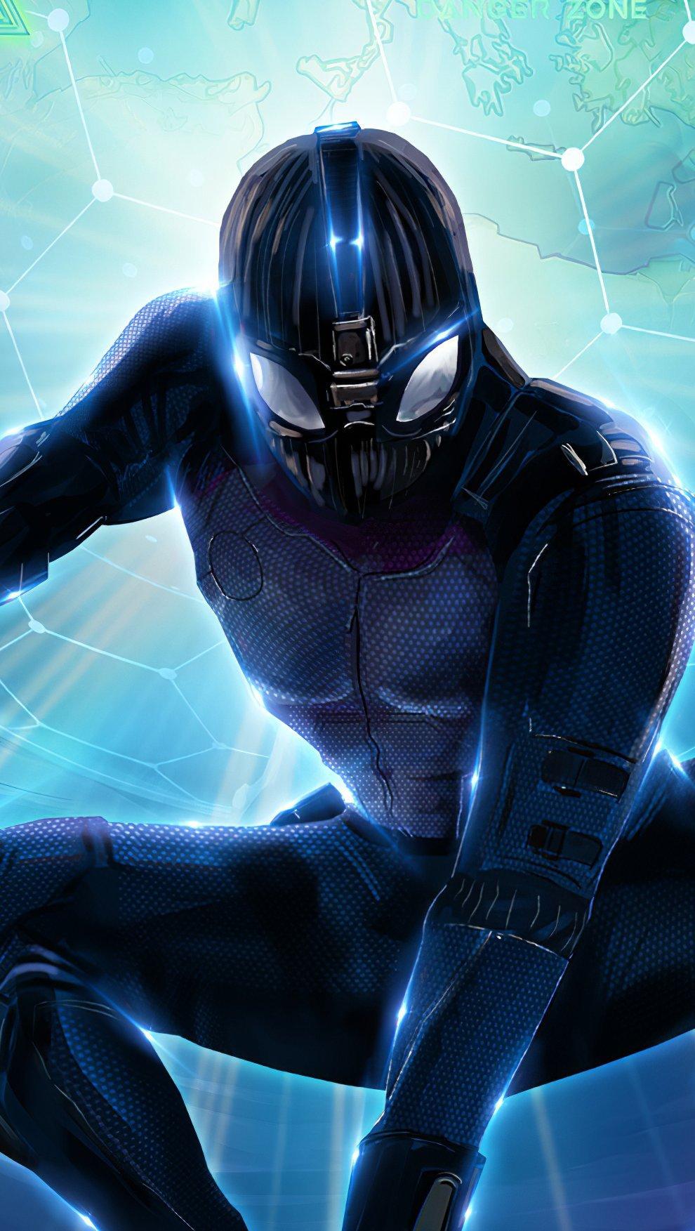 Wallpaper Spiderman Black suit Fanart Vertical