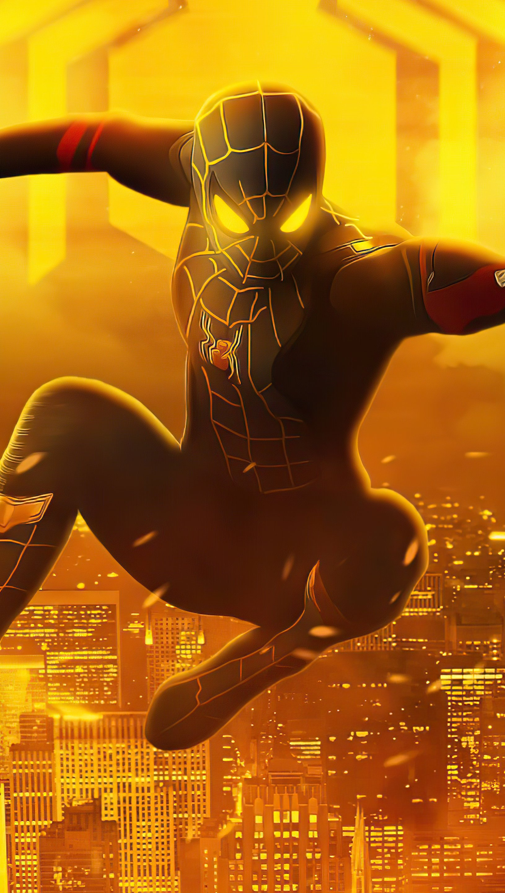 Wallpaper Spider Man with black and gold suit Vertical