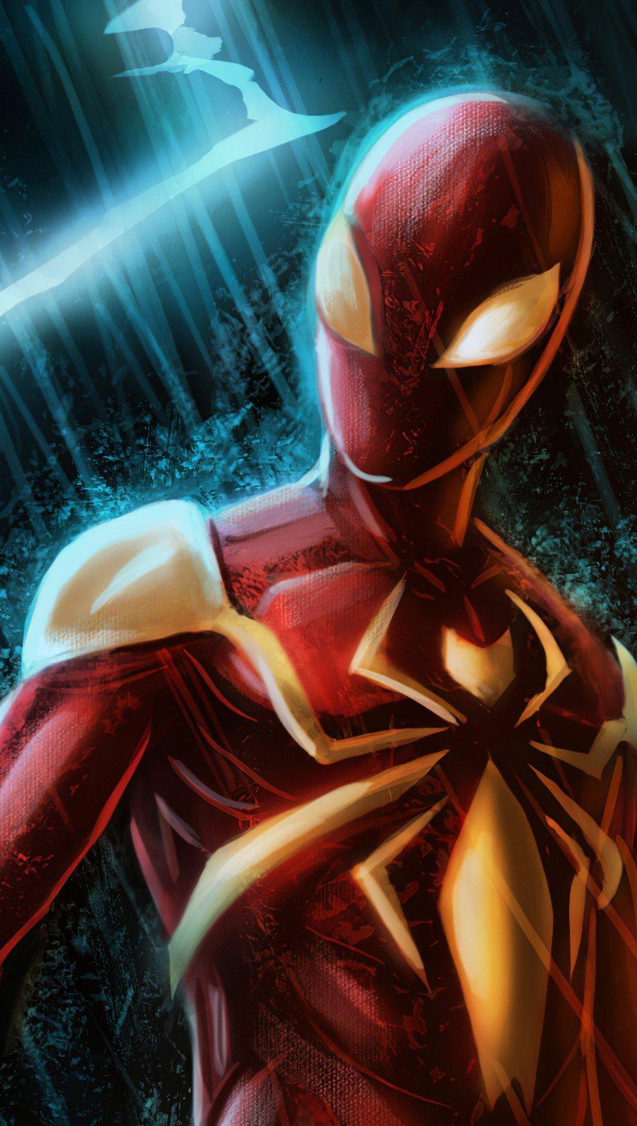 Fondos de pantalla El hombre araña con traje rojo y dorado Vertical