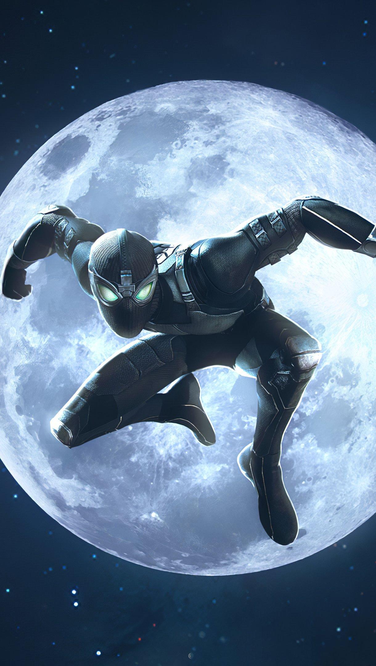 Fondos de pantalla El hombre araña traje negro en la luna Vertical