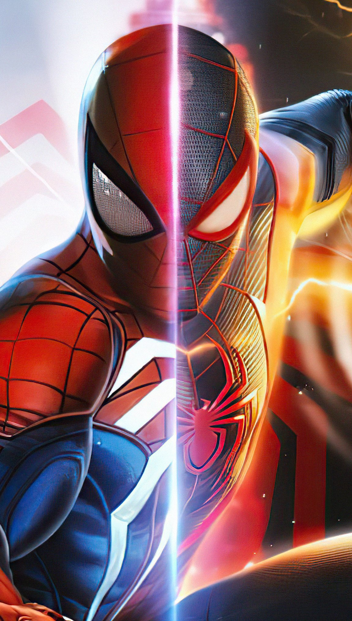 Wallpaper Spiderman and Miles Morales Vertical