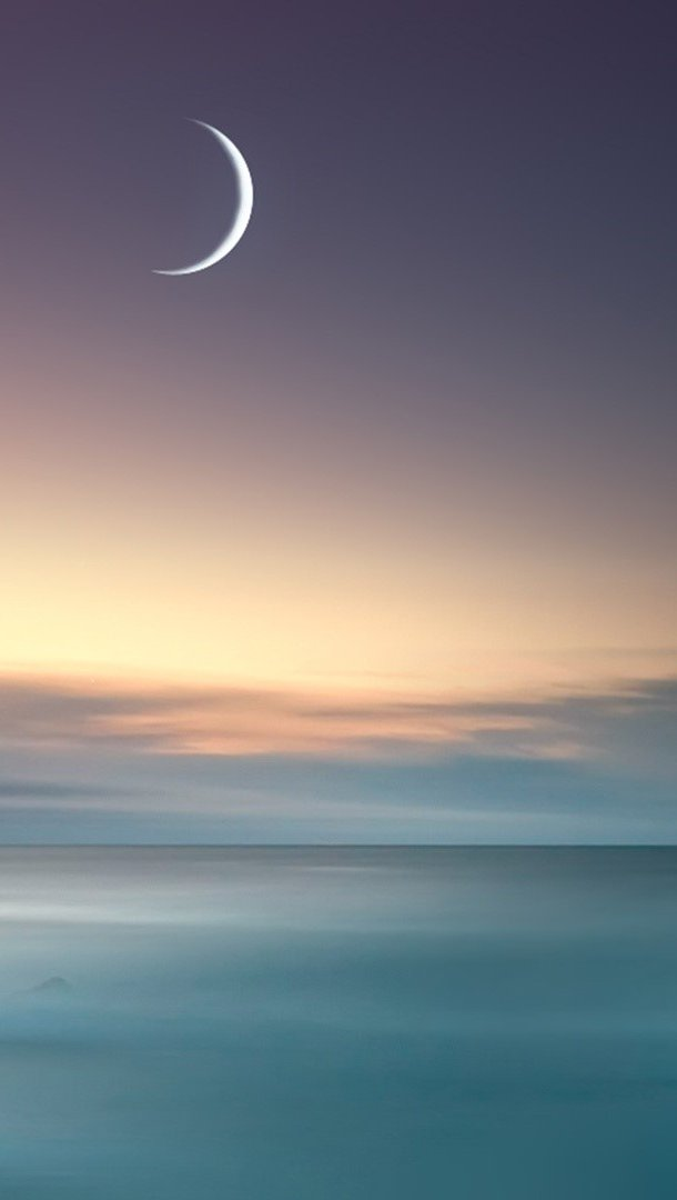 Wallpaper The sea and the moon Vertical