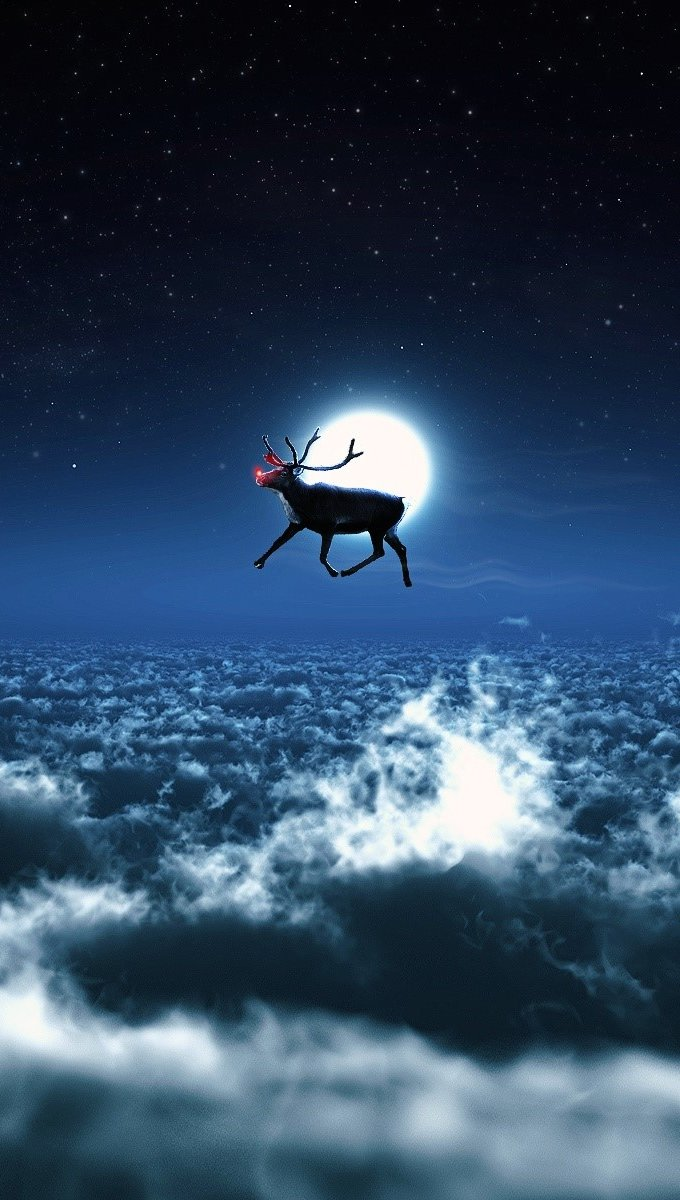 Wallpaper Santa's reindeer Vertical