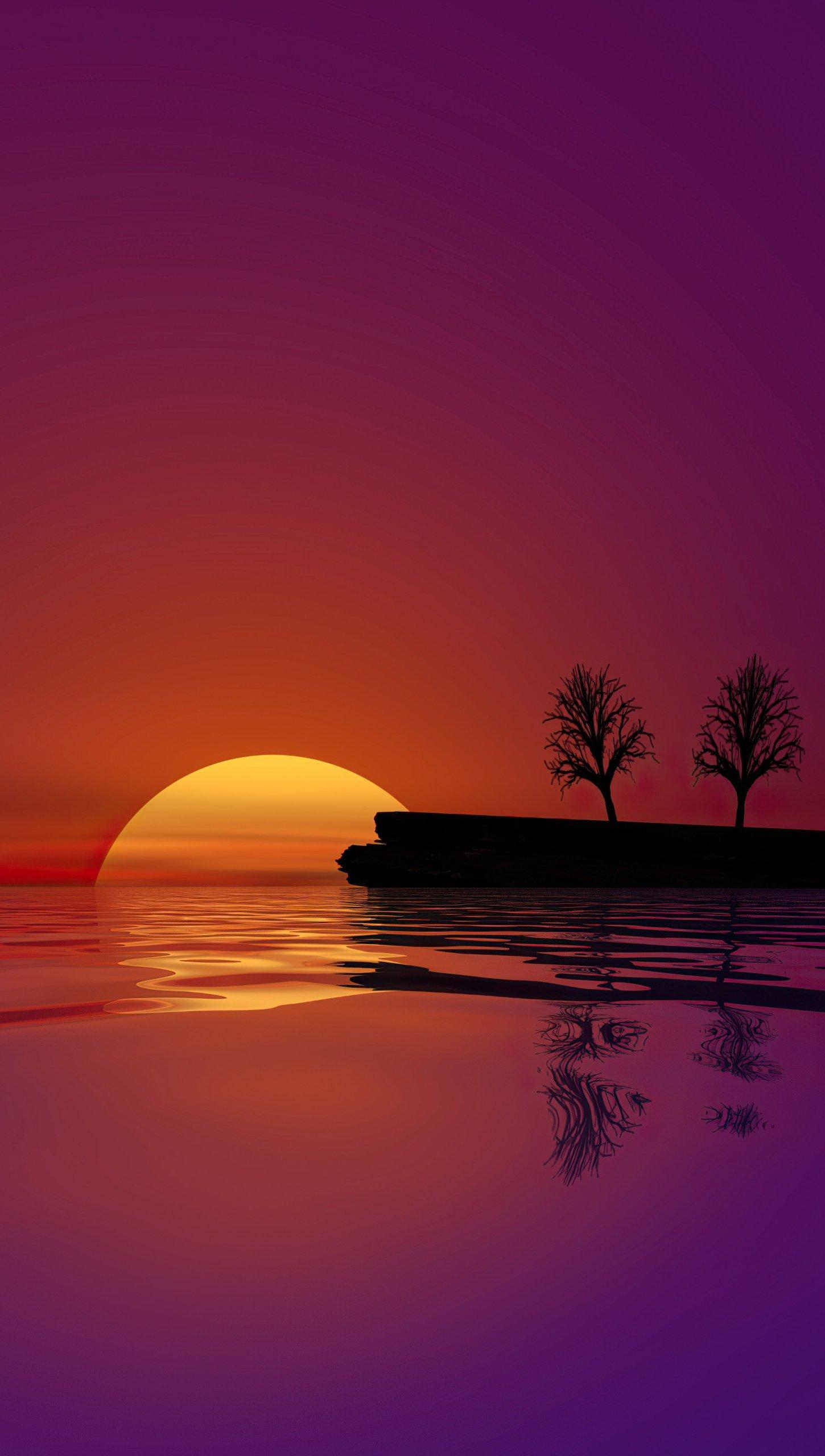 Fondos de pantalla El sol escondiendose en el agua Vertical