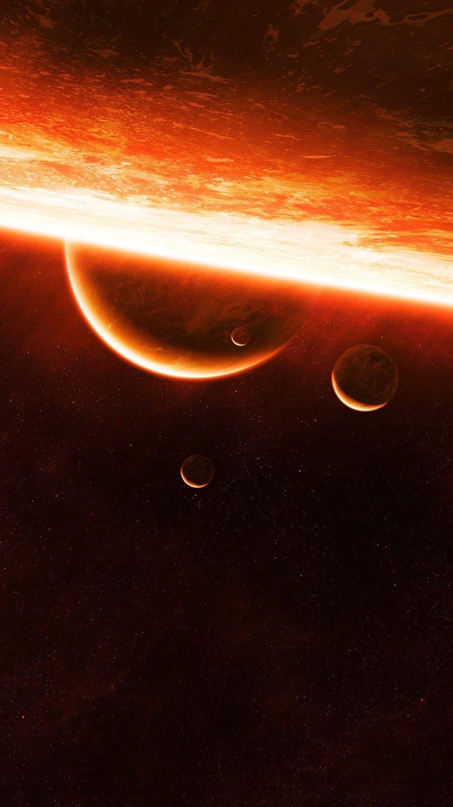 Fondos de pantalla El sol y planetas Vertical