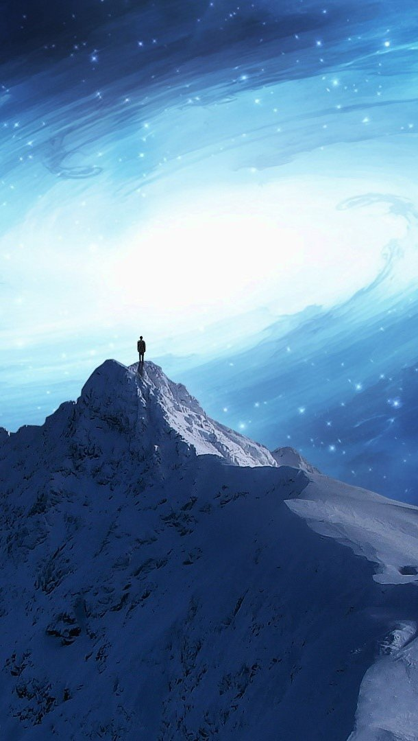 Wallpaper The universe on a mountain Vertical