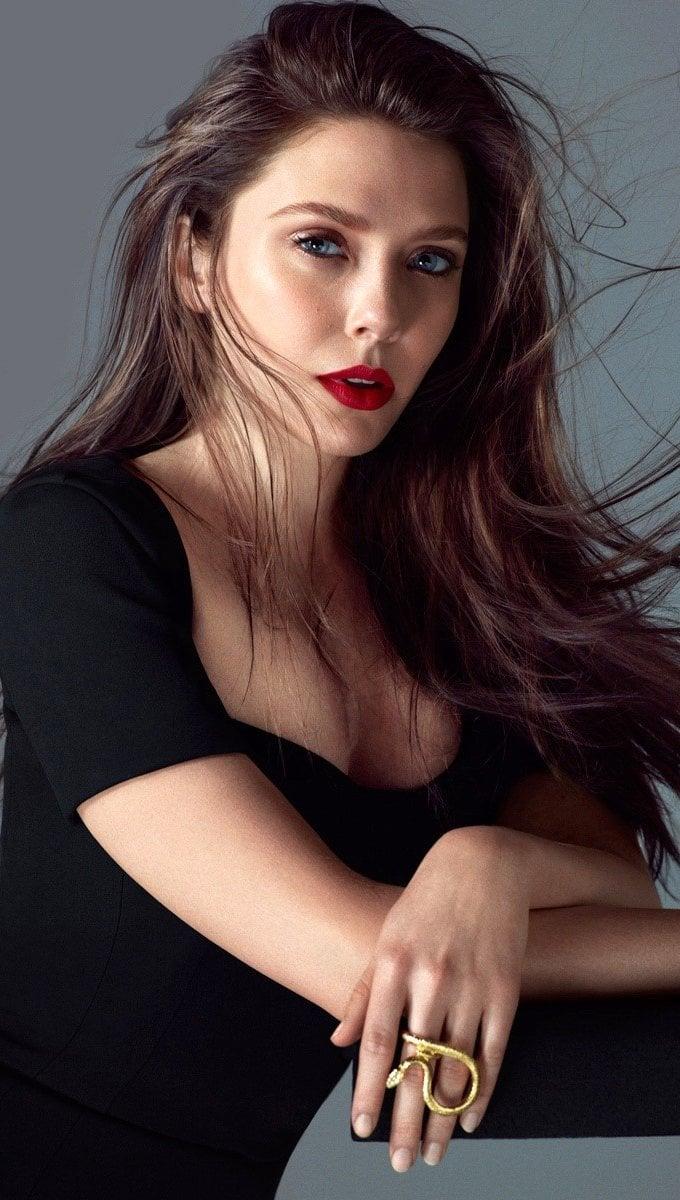 Wallpaper Elizabeth Olsen with long hair Vertical