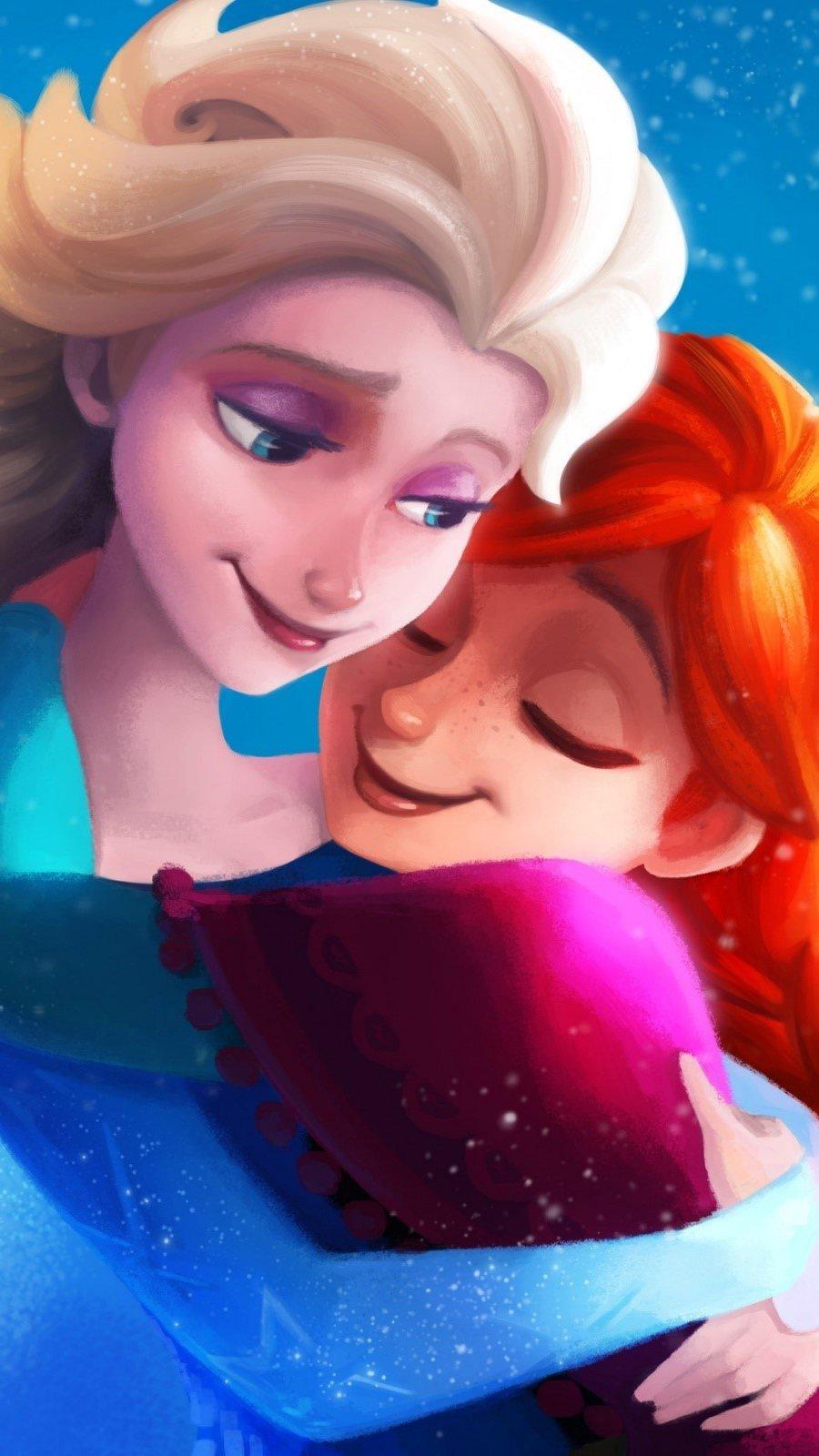 Wallpaper Elsa and Anna from Frozen Vertical