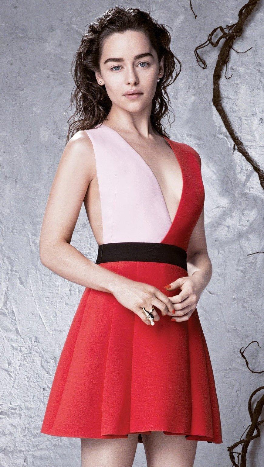 Wallpaper Emilia Clarke in a red dress Vertical