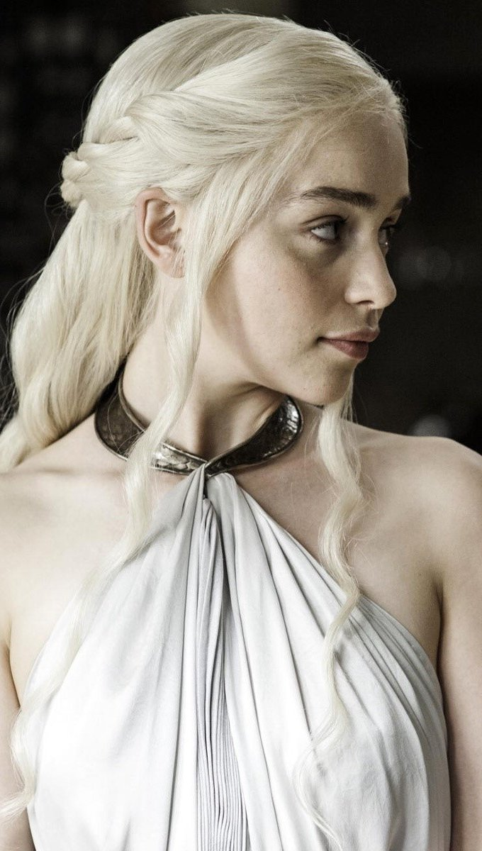 Wallpaper Emilia Clarke looking to the right Vertical
