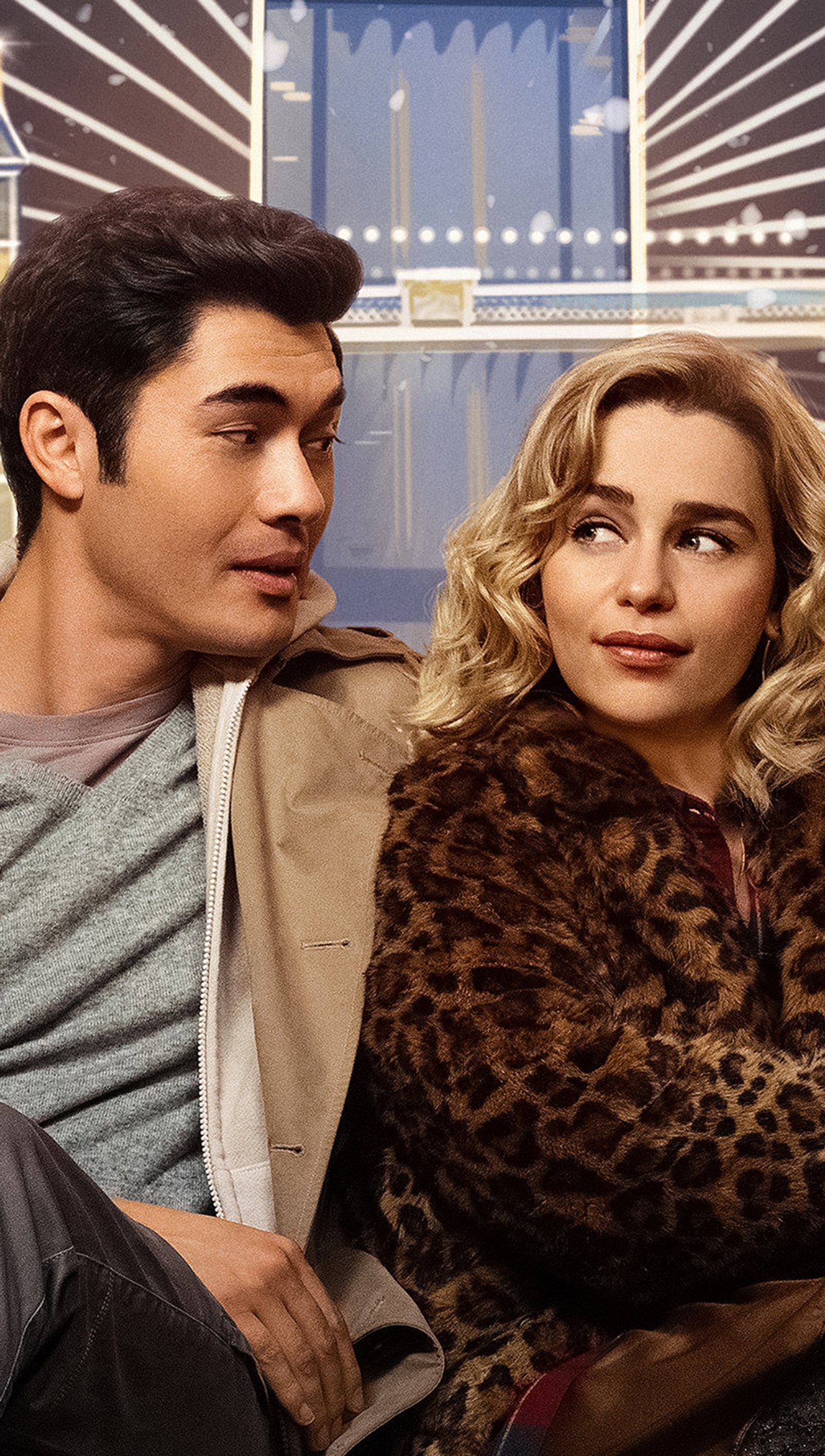 Wallpaper Emilia Clarke and Henry Golding in Last Christmas Vertical