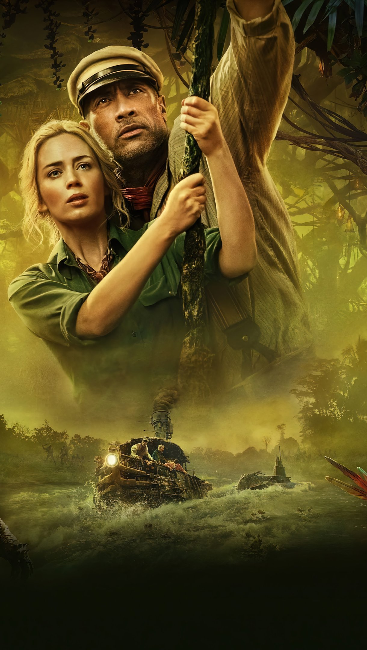 Wallpaper Emily Blunt and Dwayne Johnson in Jungle Cruise Vertical