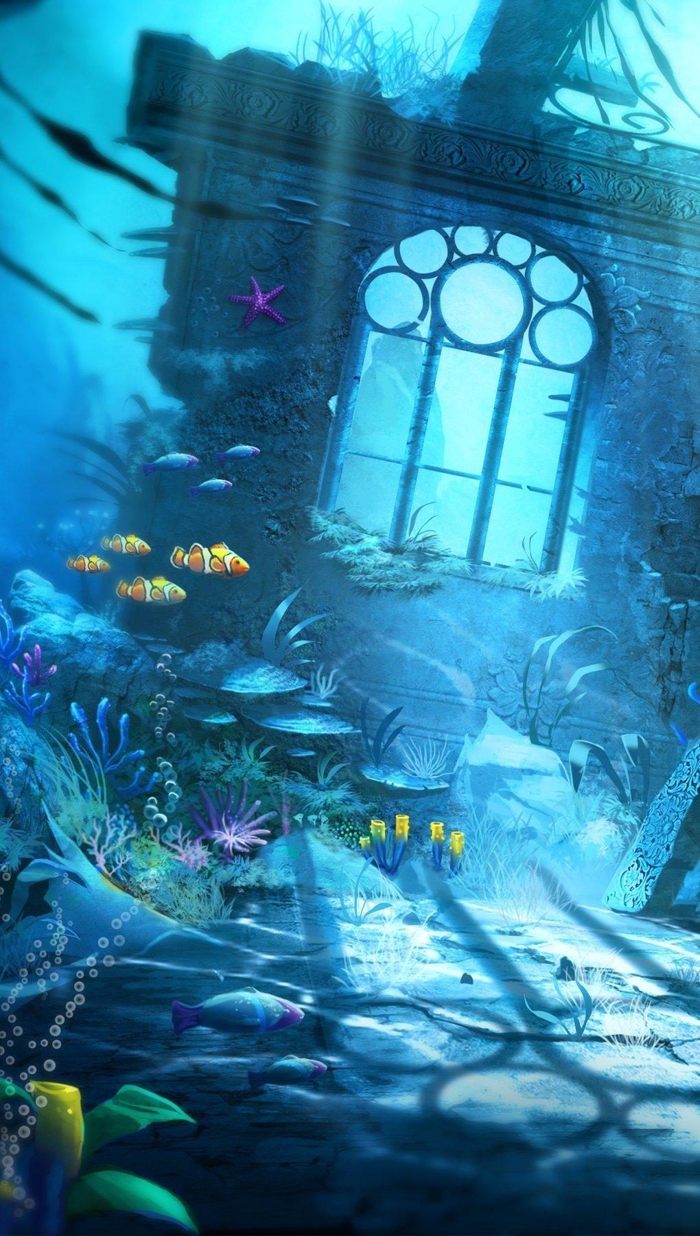 Fondos de pantalla Escena submarina Vertical