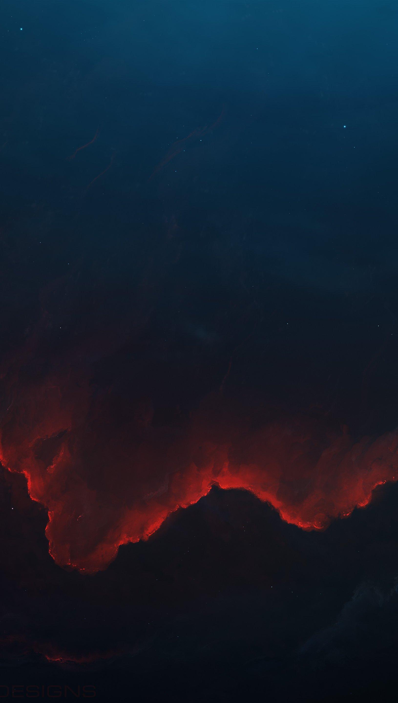 Wallpaper Space Red Nebula Vertical