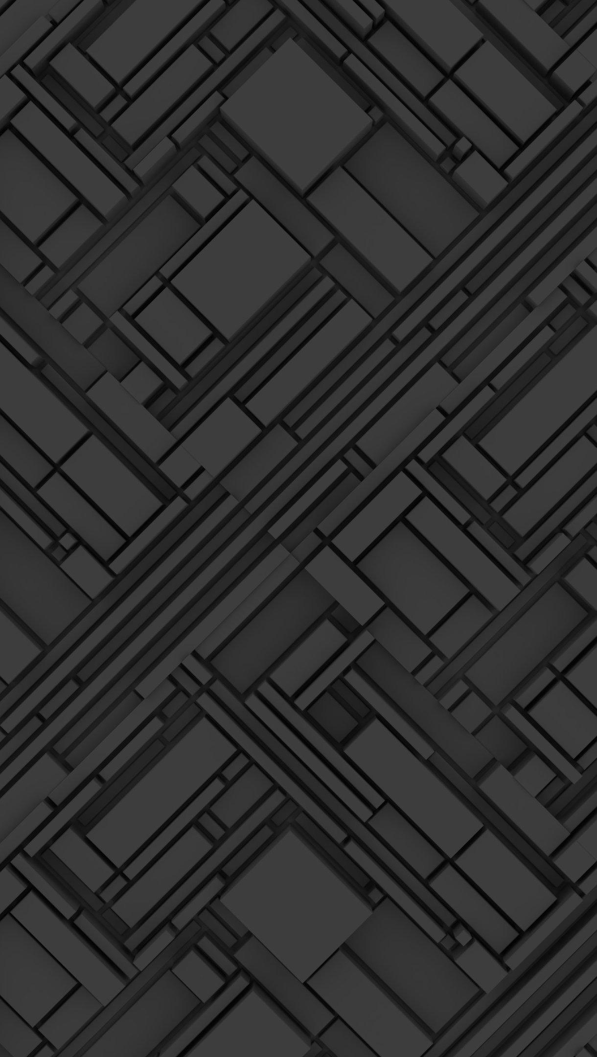 Wallpaper Dark Gray 3D Abstract Structure Vertical