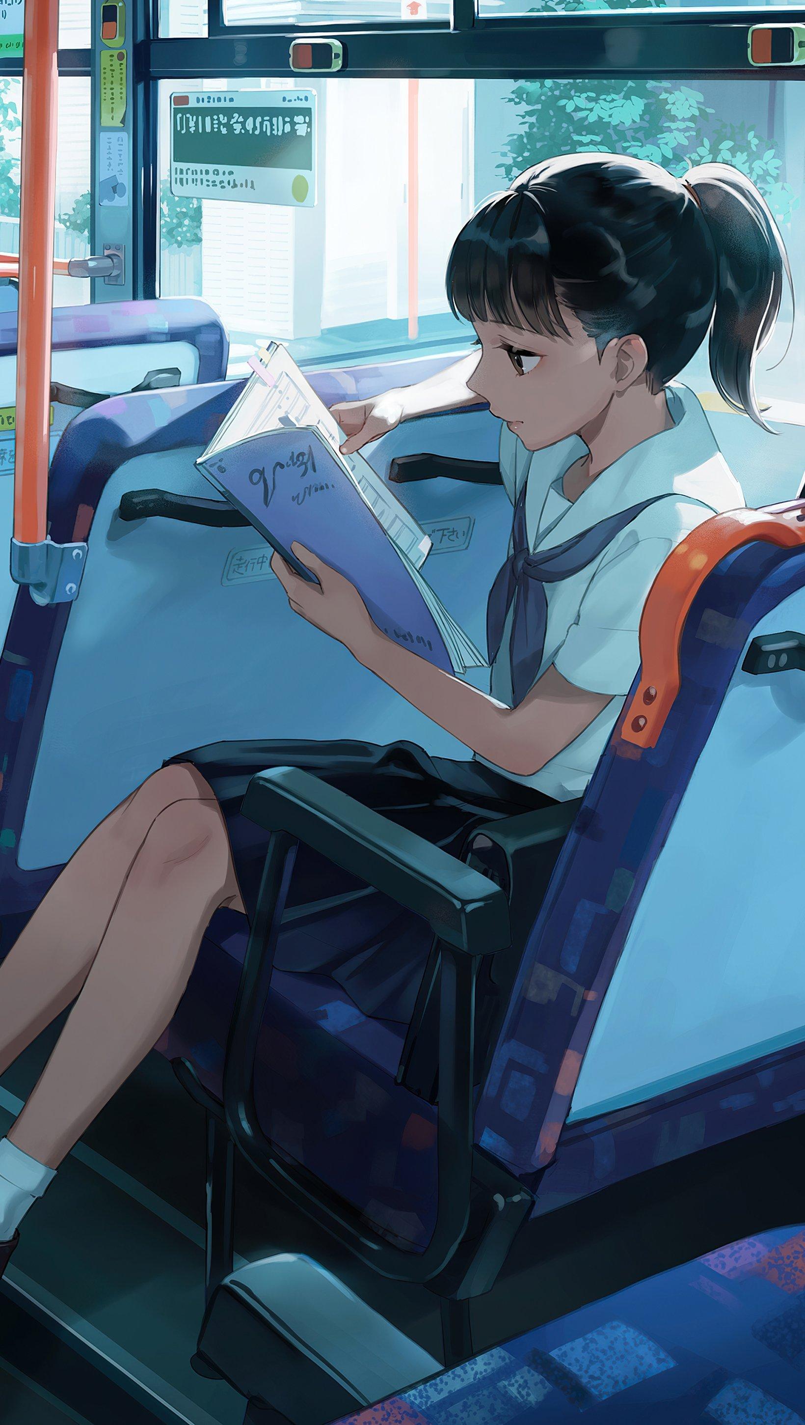 Fondos de pantalla Anime Estudiante en bus leyendo Vertical