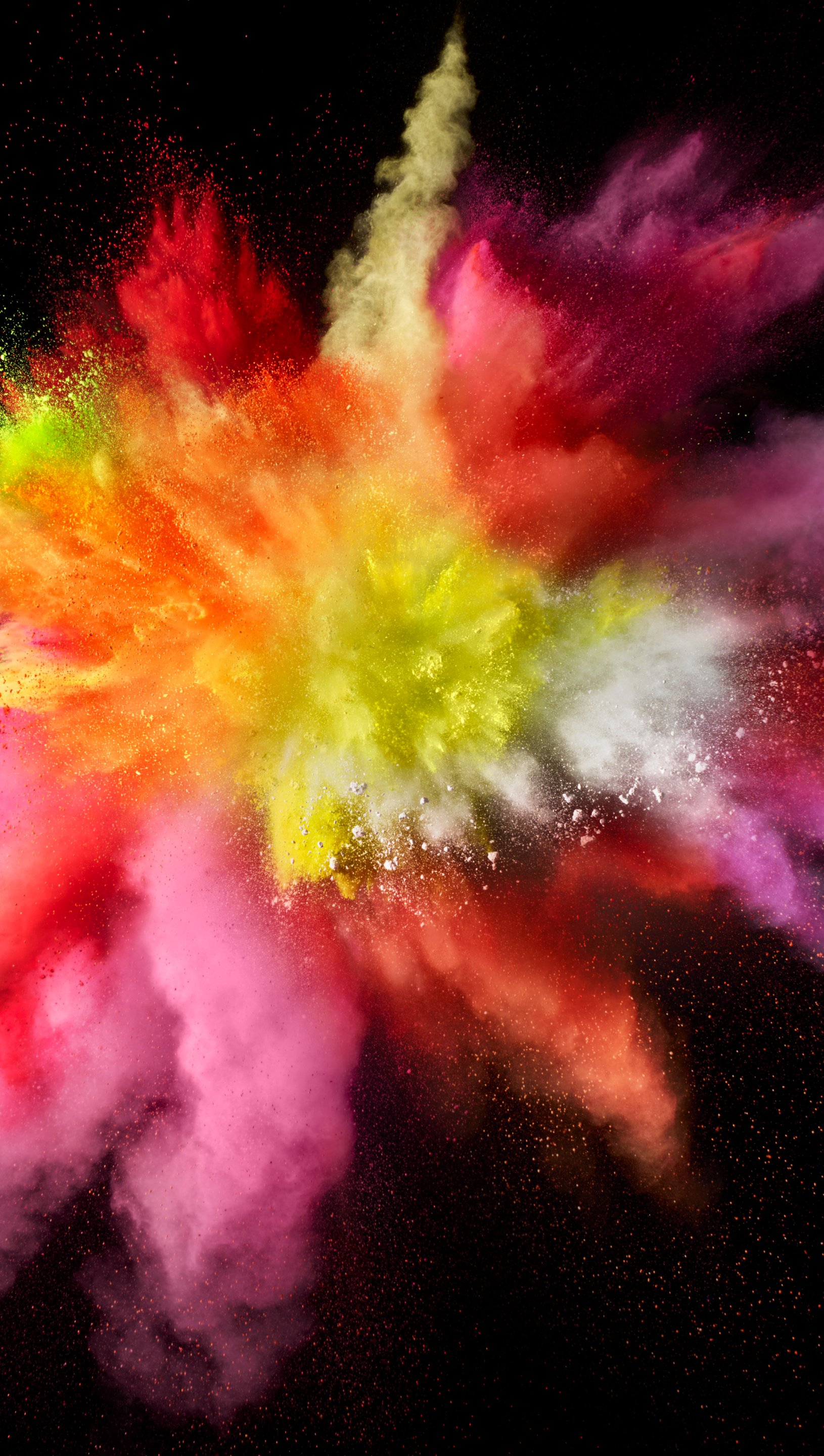Wallpaper Explosion colored dust and smoke Vertical