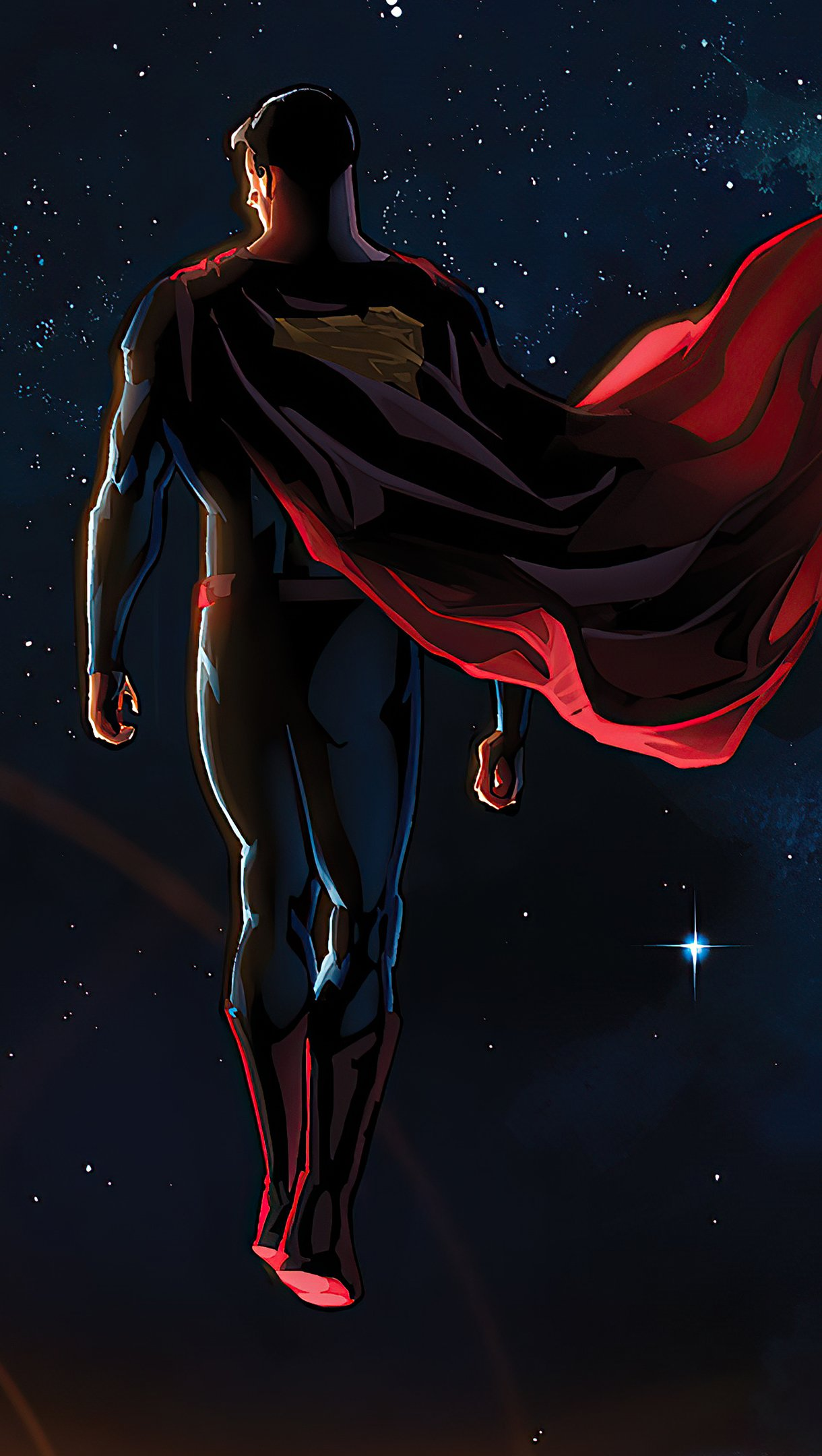 Wallpaper Superman in space Fanart Vertical