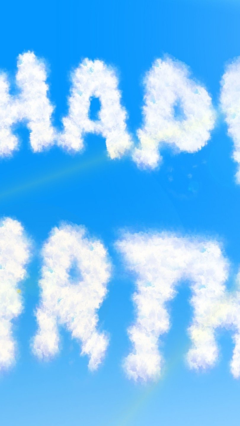 Wallpaper Happy birthday with clouds Vertical
