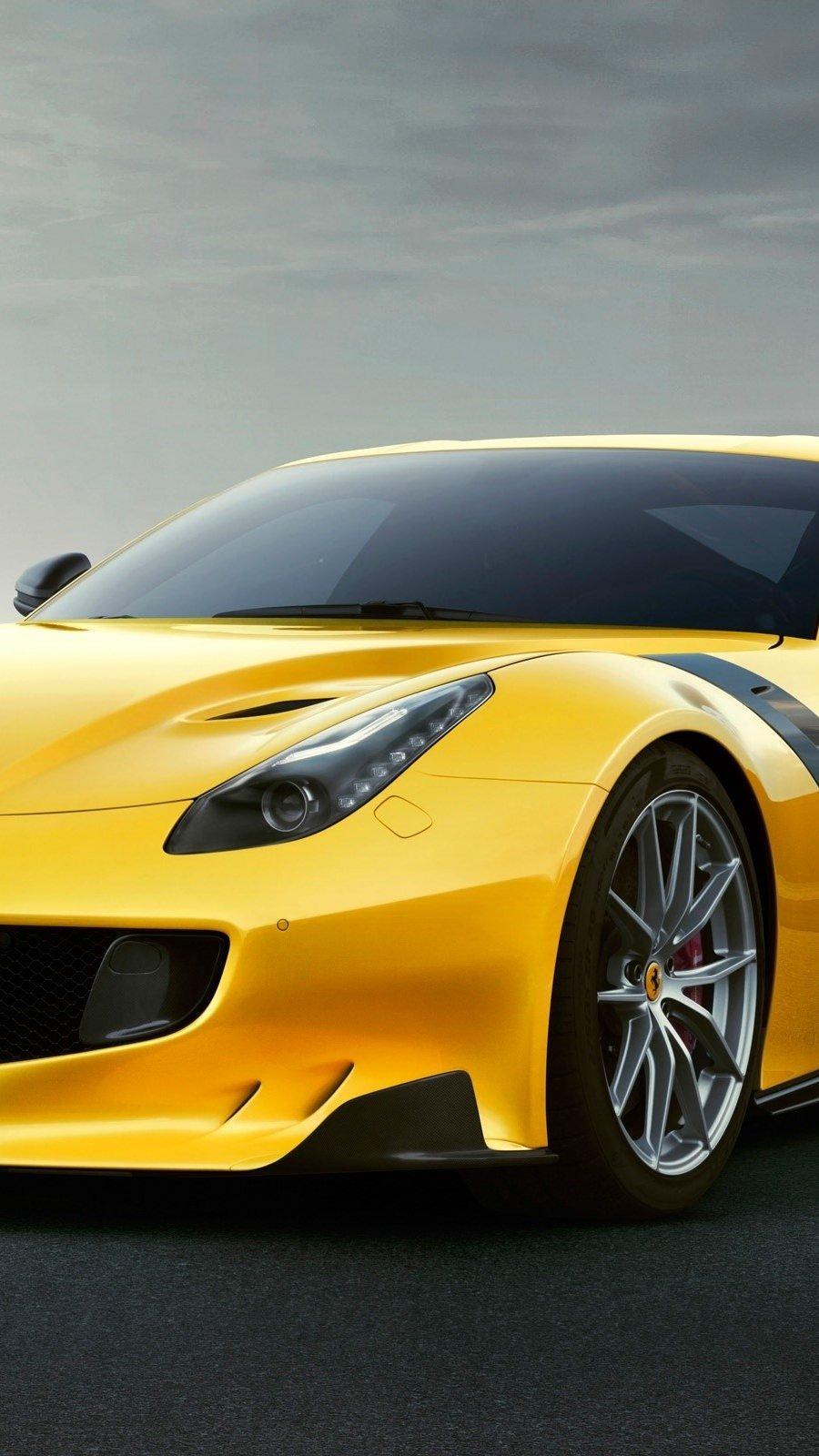 Wallpaper Ferrari F12TDF yellow Vertical