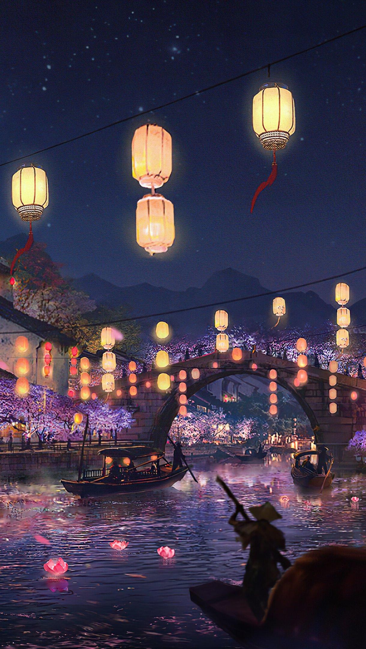 Wallpaper Light Festival at river Digital Art Vertical