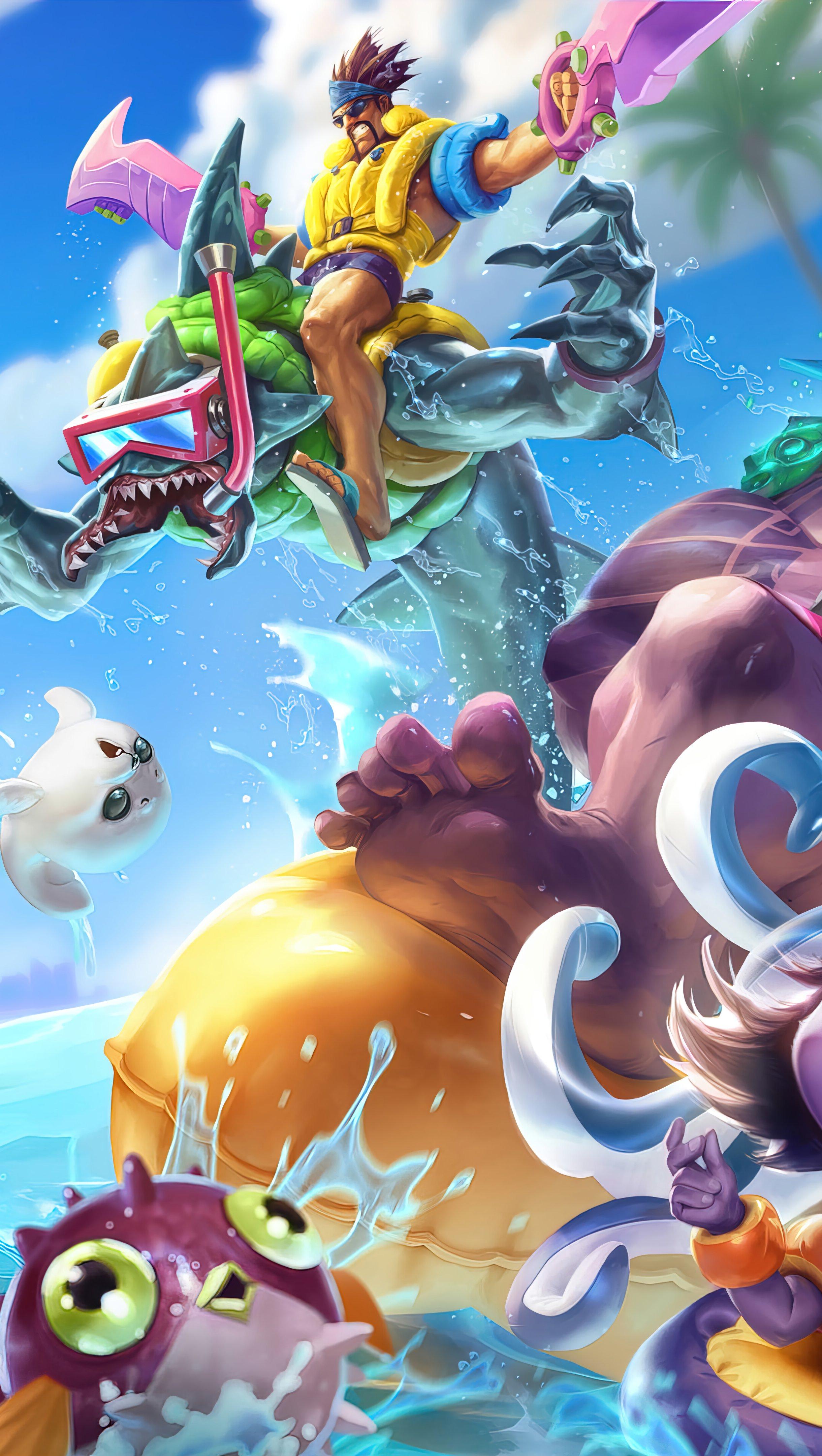 Fondos de pantalla Fiesta en la piscina League of Legends Vertical