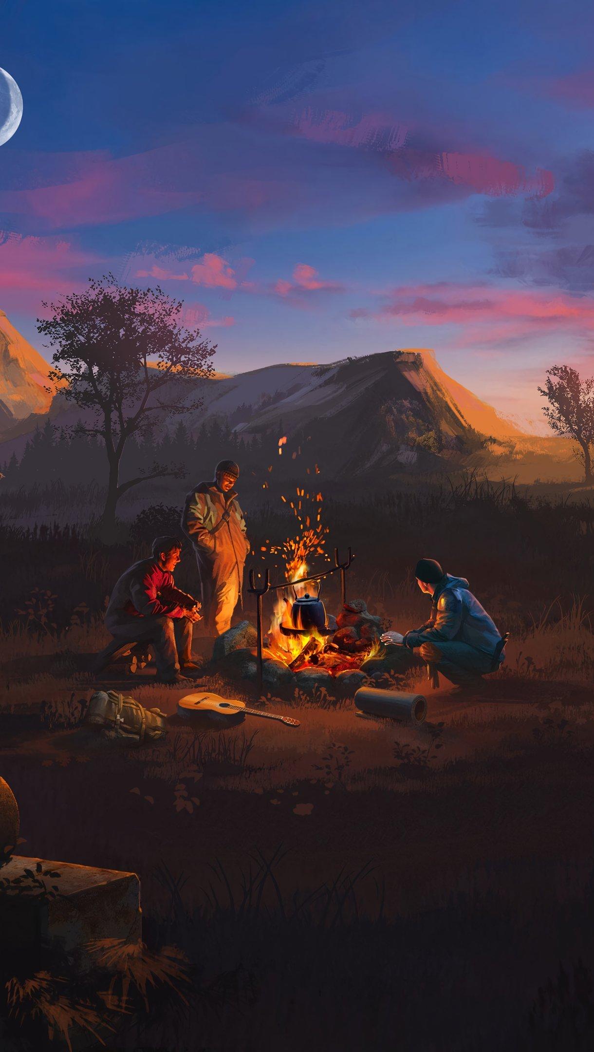 Fondos de pantalla Fogata en campamento al atardecer artwork Vertical